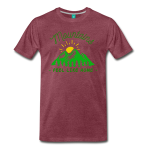 Men's Mountains Feel Like Home T-Shirt - heather burgundy