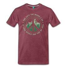 Load image into Gallery viewer, Men's Into the Woods I Go T-Shirt - heather burgundy