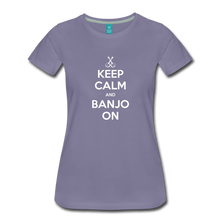 Load image into Gallery viewer, Women's Keep Calm Banjo On T-Shirt - washed violet