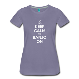 Women's Keep Calm Banjo On T-Shirt - washed violet