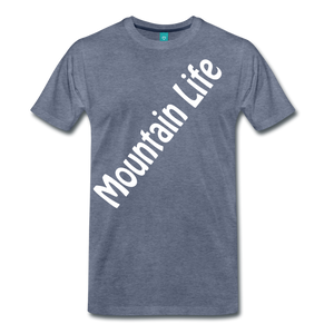 Men's Diagonal Mountain Life T-Shirt - heather blue