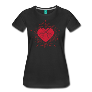 Women's Sunburst Heart Banjo T-Shirt - black