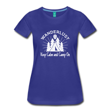 Load image into Gallery viewer, Women's Keep Calm, Camp On (white) - royal blue