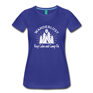 Women's Keep Calm, Camp On (white) - royal blue