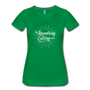 Women's Mountain Calling T-Shirt (white) - kelly green