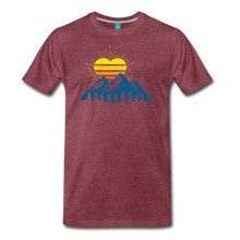 Load image into Gallery viewer, Men's Mountains Sun Heart T-Shirt - heather burgundy
