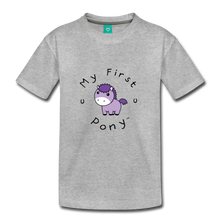 Load image into Gallery viewer, Kids' My First Pony T-Shirt (lilac patch) - heather gray