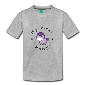 Kids' My First Pony T-Shirt (lilac patch) - heather gray