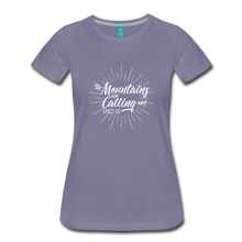 Load image into Gallery viewer, Women's Mountain Calling T-Shirt (white) - washed violet