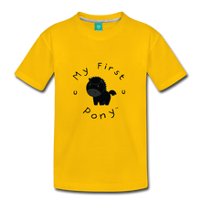 Load image into Gallery viewer, Kids' My First Pony T-Shirt (black) - sun yellow