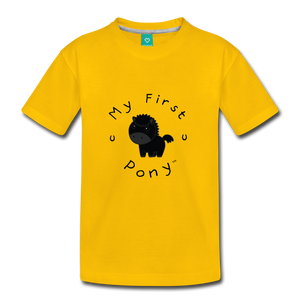 Kids' My First Pony T-Shirt (black) - sun yellow