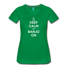 Load image into Gallery viewer, Women's Keep Calm Banjo On T-Shirt - kelly green