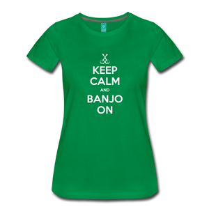 Women's Keep Calm Banjo On T-Shirt - kelly green