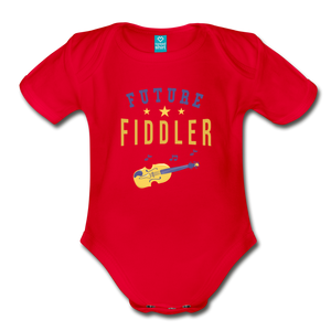 Future Fiddler Baby Bodysuit - red