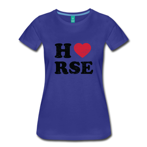 Women's Horse Large Letters T-Shirt - royal blue