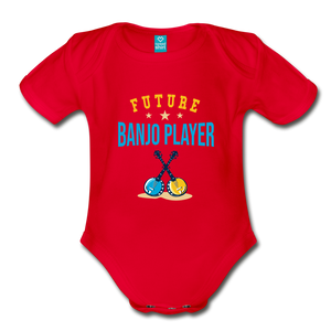 Future Banjo Player Baby Bodysuit - red
