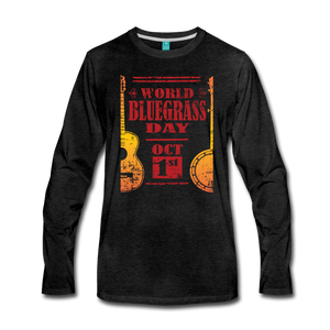 Men's Faded World Bluegrass Day Long Sleeve T-Shirt - charcoal gray