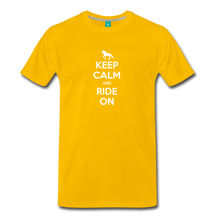 Load image into Gallery viewer, Men's Keep Calm and Ride On T-Shirt - sun yellow