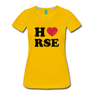 Women's Horse Large Letters T-Shirt - sun yellow