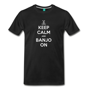 Men's Keep Calm and Banjo On T-Shirt - black