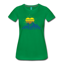 Load image into Gallery viewer, Women's Mountains Sun Heart T-Shirt - kelly green