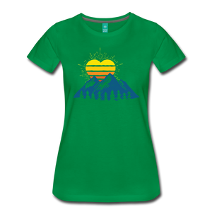 Women's Mountains Sun Heart T-Shirt - kelly green
