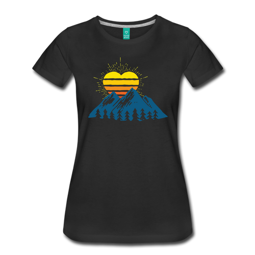 Women's Mountains Sun Heart T-Shirt - black