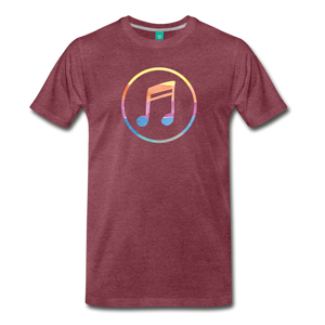 Men's Colored Music Note T-Shirt - heather burgundy