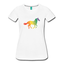 Load image into Gallery viewer, Women's Rainbow Distressed Horse T-Shirt - white