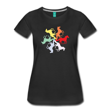 Load image into Gallery viewer, Women's Rainbow Horse Circle T-Shirt - black