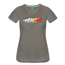 Load image into Gallery viewer, Women's Retro Rainbow Horse T-Shirt - asphalt