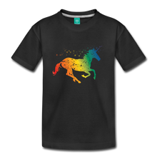 Load image into Gallery viewer, Kids' Rainbow Unicorn T-Shirt - black