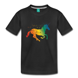 Kids' Rainbow Unicorn T-Shirt - black