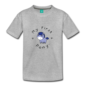 Toddler My First Pony T-Shirt (blue patch) - heather gray
