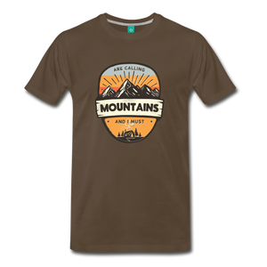 Men's Mountain's Calling T-Shirt - noble brown