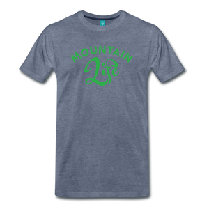 Men's Mountain Life (script) T-Shirt - heather blue