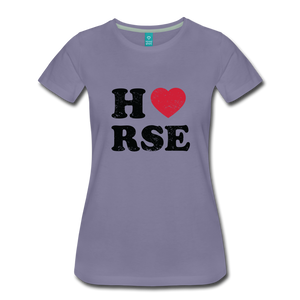 Women's Horse Large Letters T-Shirt - washed violet