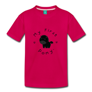Kids' My First Pony T-Shirt (black) - dark pink