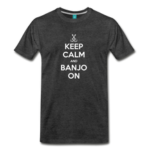 Load image into Gallery viewer, Men's Keep Calm and Banjo On T-Shirt - charcoal gray