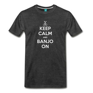 Men's Keep Calm and Banjo On T-Shirt - charcoal gray