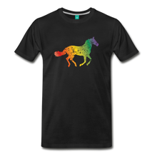 Load image into Gallery viewer, Men's Rainbow Distressed Horse T-Shirt - black