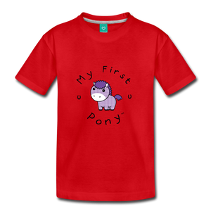 Kids' My First Pony T-Shirt (lilac patch) - red
