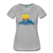 Load image into Gallery viewer, Women's Mountains Sun Heart T-Shirt - heather gray