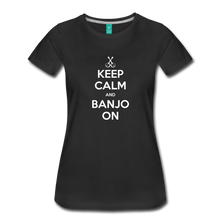 Load image into Gallery viewer, Women's Keep Calm Banjo On T-Shirt - black