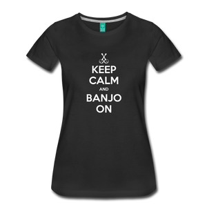 Women's Keep Calm Banjo On T-Shirt - black