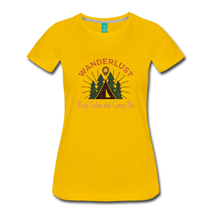 Women's Keep Calm, Camp On - sun yellow