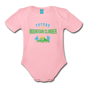 Future Mountain Climber Baby Bodysuit - light pink