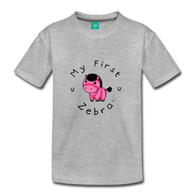 Load image into Gallery viewer, Kids' My First Zebra T-Shirt (pink) - heather gray