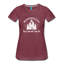 Load image into Gallery viewer, Women's Keep Calm, Camp On (white) - heather burgundy