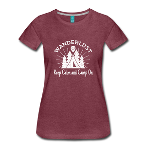 Women's Keep Calm, Camp On (white) - heather burgundy